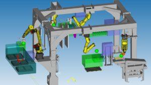 SOCOPRESSES : Chargement de machine. 5 robots FANUC avec Vision